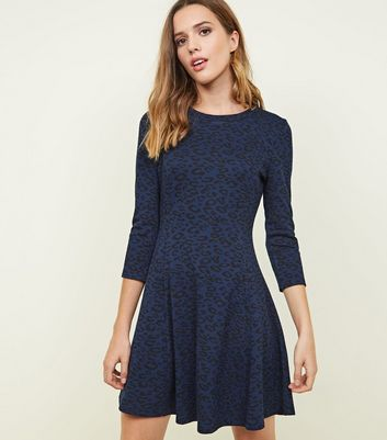 Navy Leopard Print 3/4 Sleeve Swing Dress
