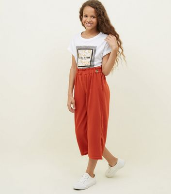Girls Orange Button Paperbag Waist Culottes
