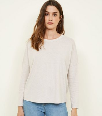 Cream Marl Brushed Long Sleeve Jumper
