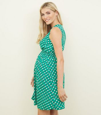 Maternity Green Spot Print Shirred Waist Dress