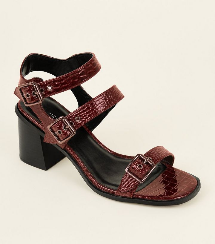 a2c0ccb5c852 Wide Fit Dark Red Patent Faux Croc Buckled Sandals