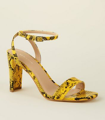 Yellow Faux Snakeskin Slim Block Heel Sandals