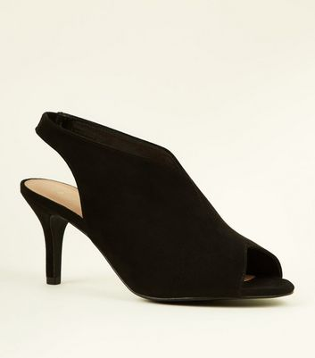 Wide Fit Black Suedette Peep Toe Slingback Heels