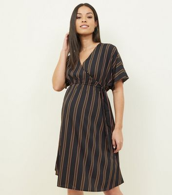 Maternity Black Stripe Print Wrap Dress