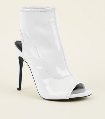 White Patent Peep Toe Stiletto Heels