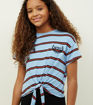 Girls Blue Stripe NYC Logo Tie Front T-Shirt