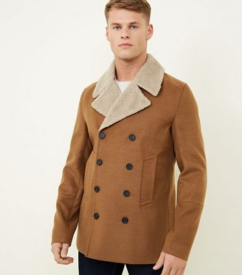 Tan Felted Finish Double Breasted Pea Coat