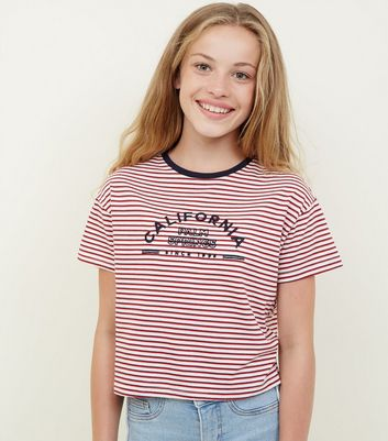 Girls Red Stripe California Ringer T-Shirt