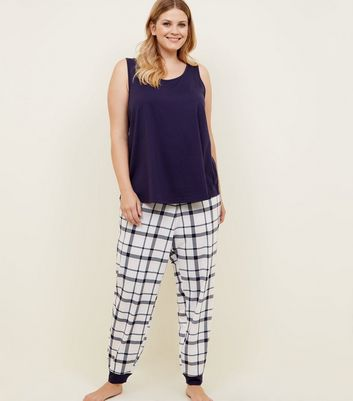 Curves Navy Check Joggers Pyjama Set