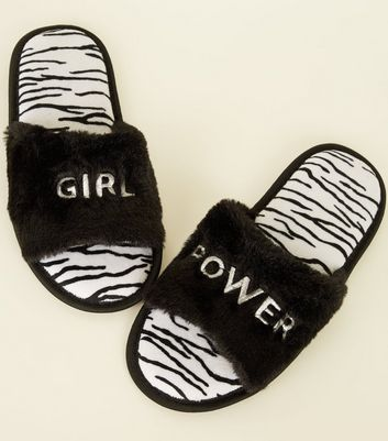 Black Fluffy Girl Power Zebra Print Sliders