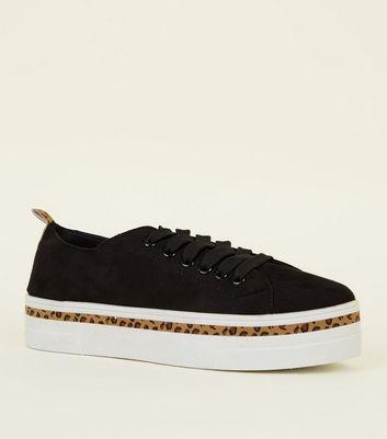 Black Leopard Print Trim Flatform Shoes