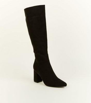 Black Suedette Knee High Boots by New Look