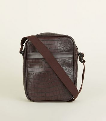 Dark Brown Faux Croc Cross Body Bag