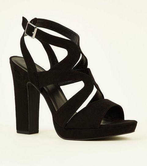 08d48ae5abde ... Black Suedette Strappy Platform Block Heels ...