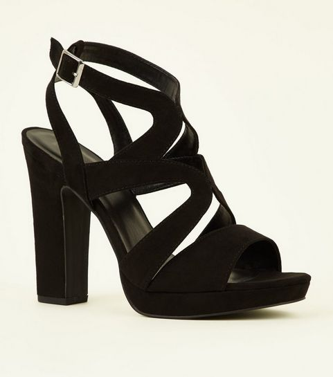 9ef626aa0e1 ... Black Suedette Strappy Platform Block Heels ...