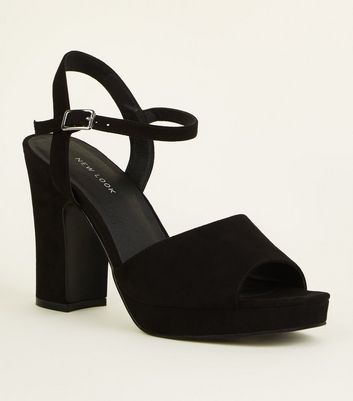 Black Suedette Square Toe Platform Sandals