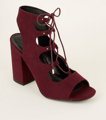 Dark Red Suedette Peep Toe Ghillie Lace Up Sandals