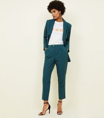 Dark Green Tapered Pull On Trousers