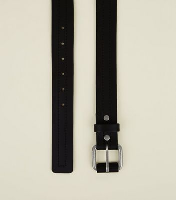 Black Leather Centre Stitch Belt