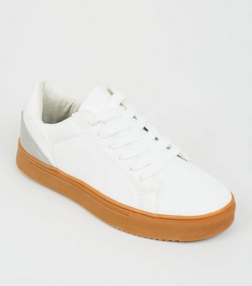White Leather-Look Gum Sole Lace-Up Trainers