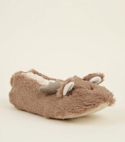 964ee0ffc9c ... Light Brown Faux Fur Reindeer Slippers ...
