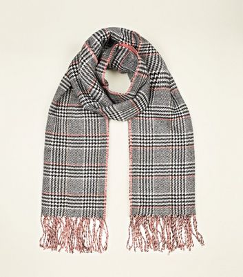 Pink and Black Prince of Wales Check Scarf