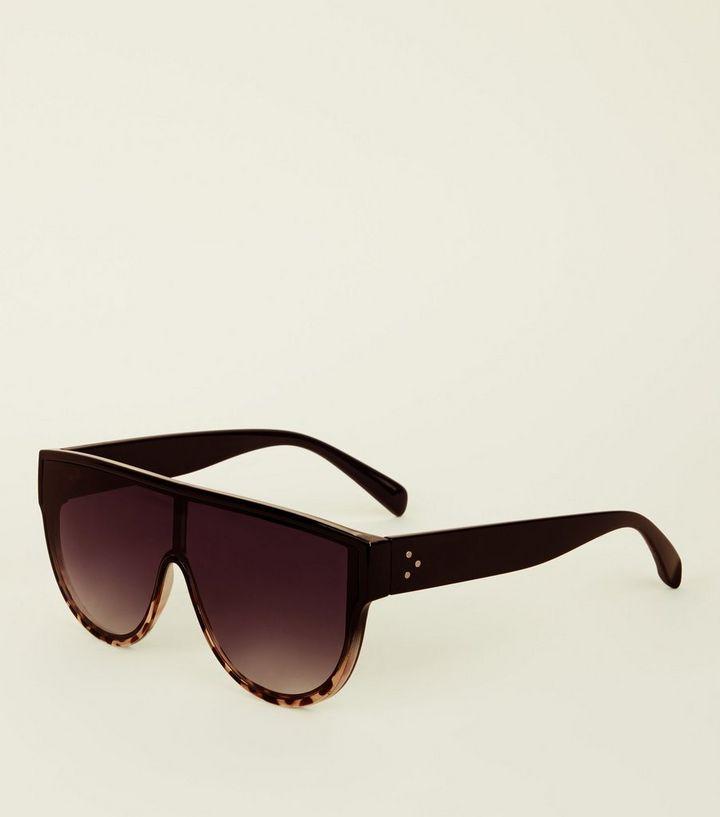 dcc78625a7d792 Black Leopard Print Flat Top Sunglasses | New Look