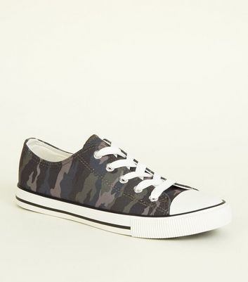 Khaki Camo Canvas Lace Up Trainers