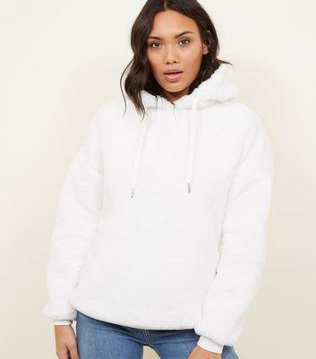 Cream Faux Fur Hoodie by New Look