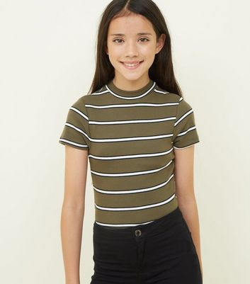 Girls Khaki Stripe High Neck Fitted T-Shirt
