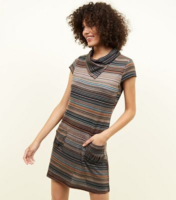 Mela Brown Stripe Dress