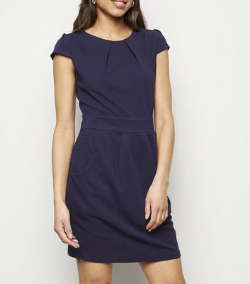 Mela Navy Pocket Front Tulip Dress