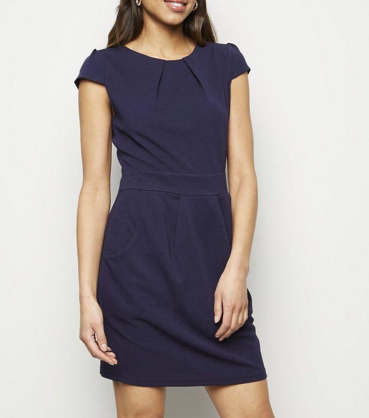 855cb39a9c0fe4 Mela Navy Pocket Front Tulip Dress