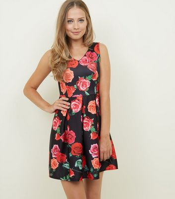 Mela Black Rose Print Pleated Skater Dress