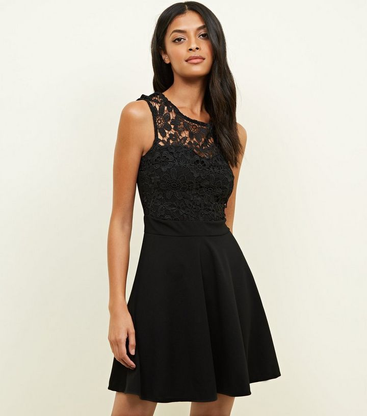 Mela Black Lace Trim Skater Dress  22d11f3df