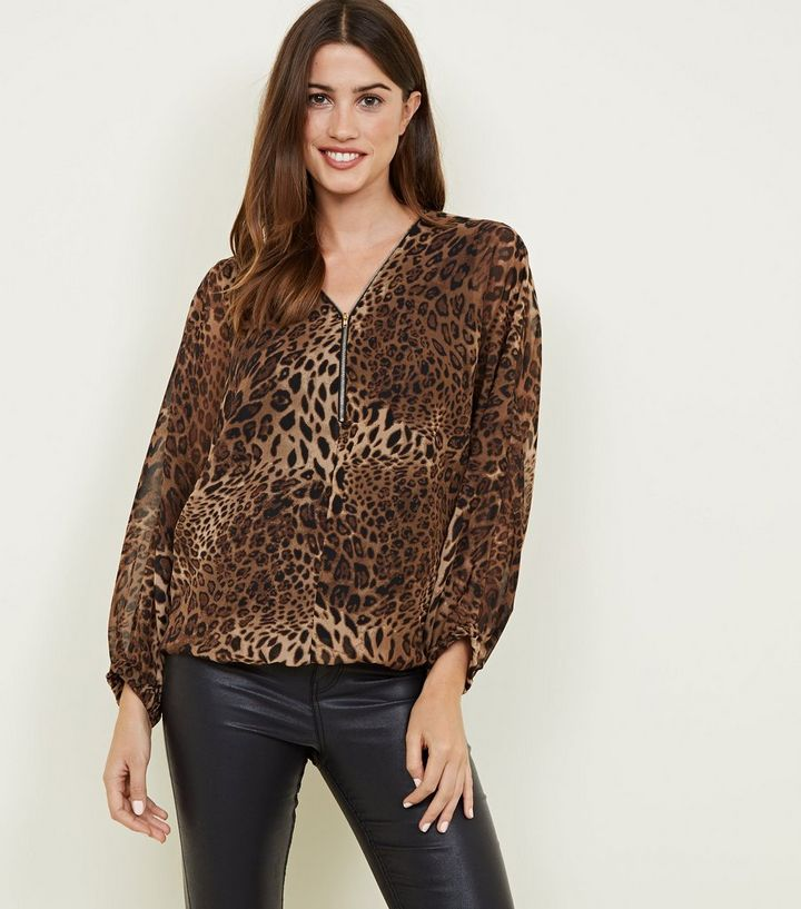 ec6250555fc9 Mela Brown Leopard Print Zip Top | New Look