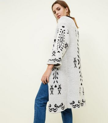 Mela Off White Aztec Knit Chenille Cardigan