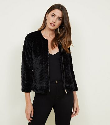 Mela Black Zig Zag Faux Fur Jacket