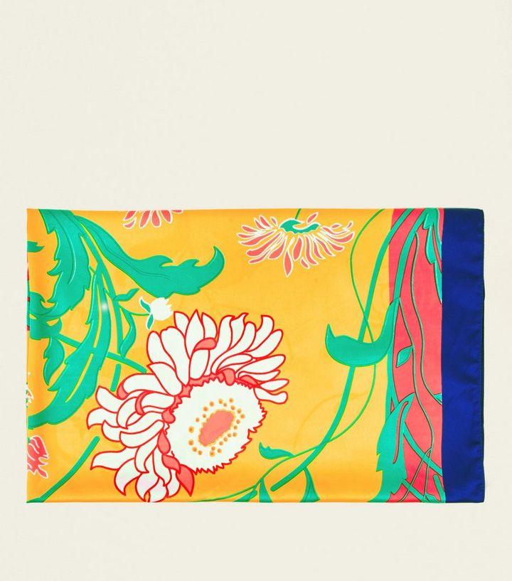 509013a87fbf5 Bright Orange Vibrant Floral Square Scarf | New Look