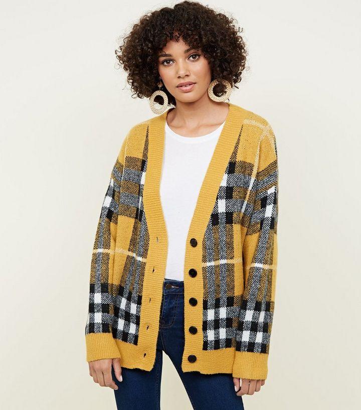 aa325317ac Mustard Check Oversized Cardigan