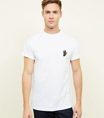 White Butterfly Embroidered T-Shirt