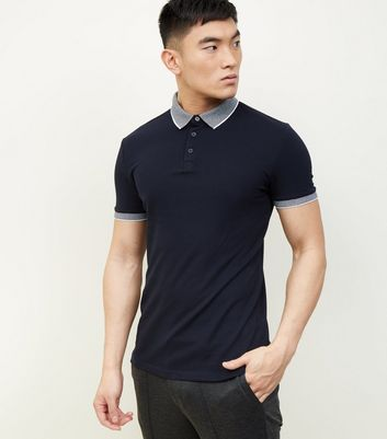 Navy Stripe Collar Polo Shirt