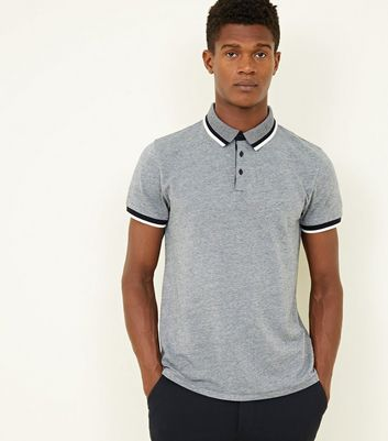Grey Tipped Collar and Cuff Polo Shirt