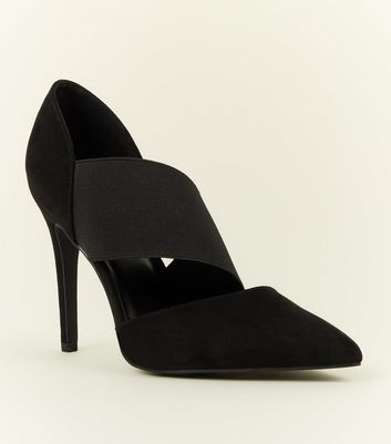 Wide Fit Black Suedette Asymmetric Courts