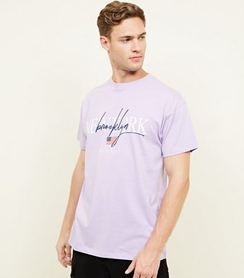 Lilac New York Sketch Print Oversized  T-Shirt