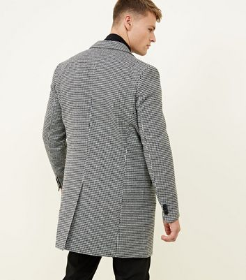 shop for Men's Black Houndstooth Single Breasted Overcoat New Look at Shopo
