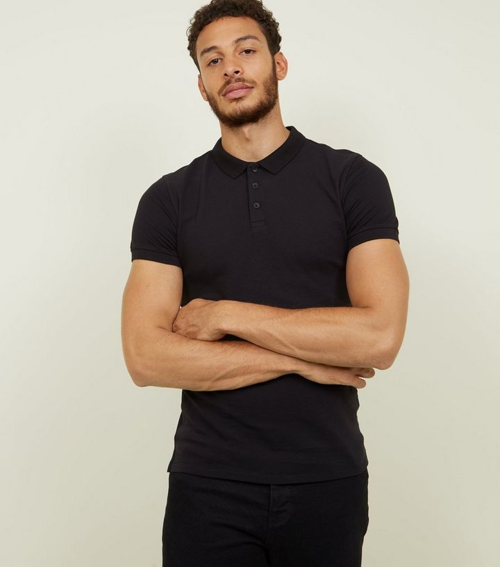 9b2d45c6 Black Ribbed Muscle Fit Polo Shirt | New Look