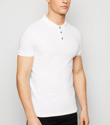 White Ribbed Polo Shirt