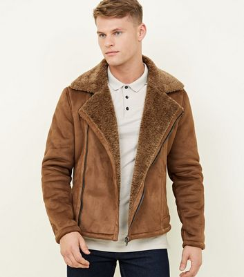 Tan Faux Shearling Suedette Aviator Jacket