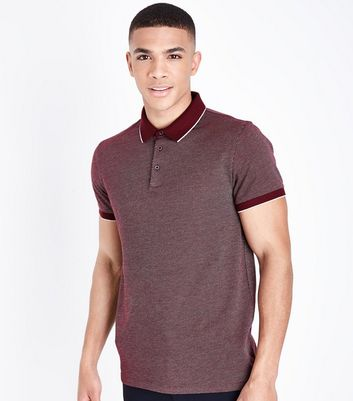 Burgundy Tipped Collar Jacquard Polo Shirt
